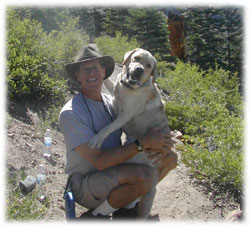 Rob and his award-winning companion Sunny in Mammoth